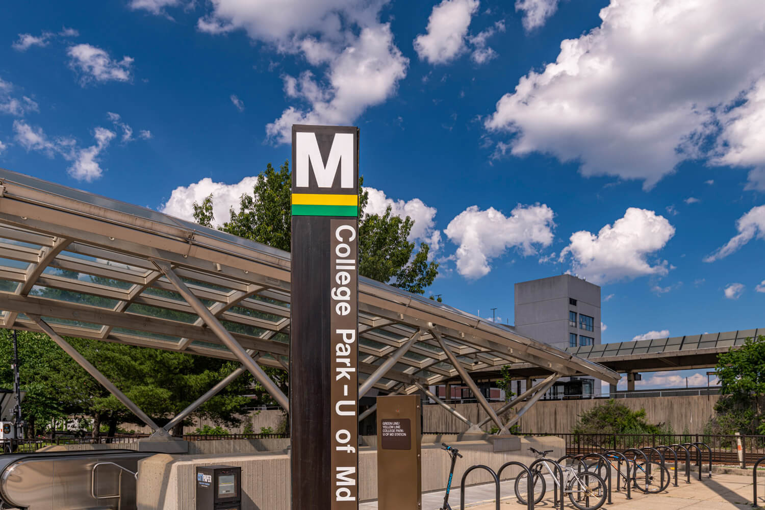 Catch the yellow or green line at the College Park Metro station
