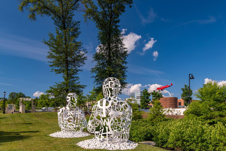 Gateway Park features sculptures by artist Jaume Plensa